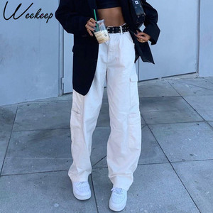 Weekeep Fashion Pocket White Women's Jeans Streetwear High Waist Jeans Vintage Straight Harajuku 2020 Denim Pants Cargo Pants