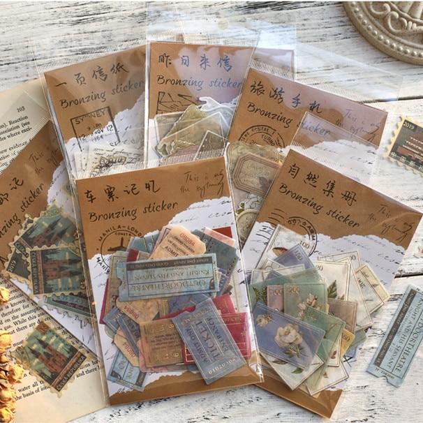 40pcs/pack Museum Series Decorative Stickers Scrapbooking Stick Label Diary Album Stationery Retro Stamp Plant Sticker