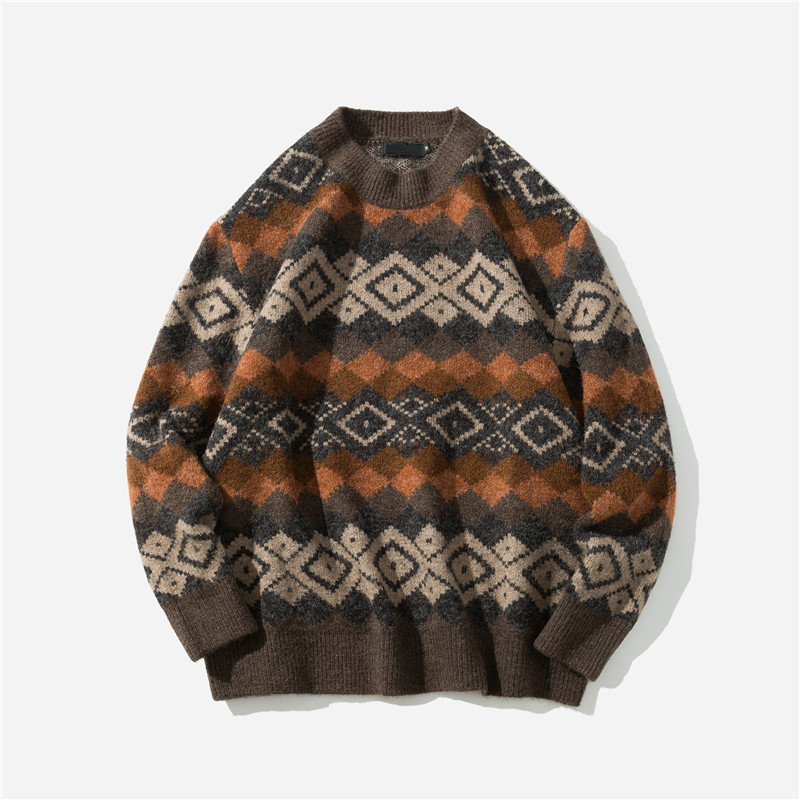 Men's Sweater New Autumn Winter Geometric Print Sweater Pull Homme Casual Loose Vintage Pullover Sweater Men Clothes