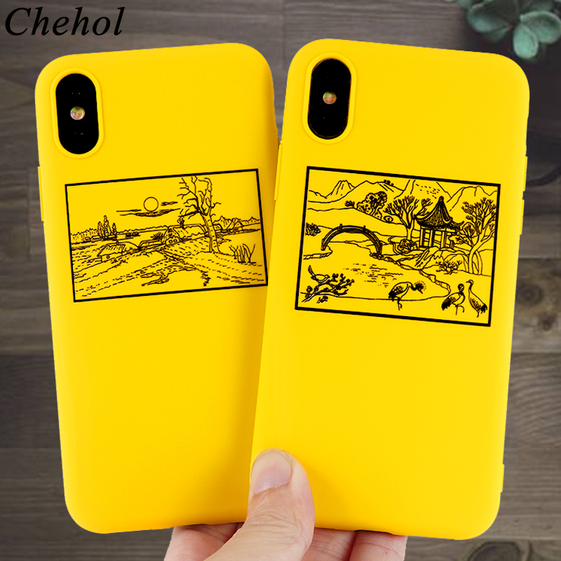 Simple Phone Cases for IPhone X XS MAX XR 8 7 6s Plus Case Landscape painting Soft Silicone Fitted Candy Back Covers Accessories in Fitted Cases from Cellphones Telecommunications