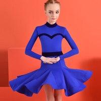 Children'S Long Sleeve Plus Szie Latin Dance Dress For Girl Turtleneck Blue Velvet Stripe Samba Rumba Competition Dress DWY3158