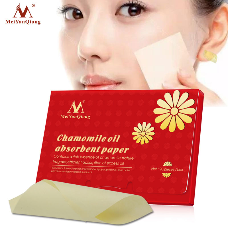 90pcs Chamomile Oil Absorbent Paper,Efficient Adsorption Of Excess Oil ,Natural Wood Pulp Fragrant Contains A Rich Essence