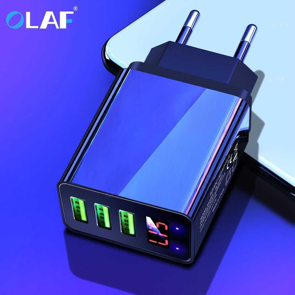 Olaf LED Display 3 USB Charger QC 3.0 3A Fast Charging For iPhone Xiaomi Huawei P30 Pro Samsung Fast EU US UK Wall Adapter Turbo
