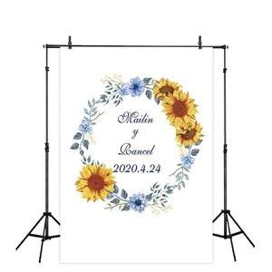 Image 4 - Allenjoy photography backdrops floral golden frame wedding Valentine 14 february flower photocall custom background photophone