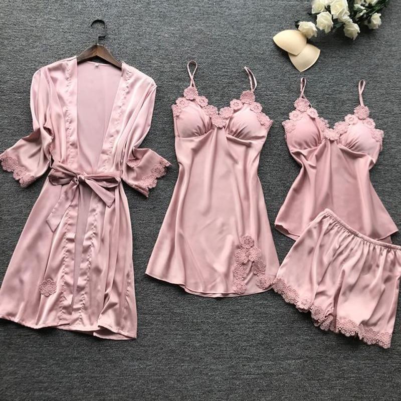 Image 4 - סאטן סקסי תחרה פיג מה ארבעה מקשה סט Pyjama משי Homewear ספגטי רצועת פיג מה נשים הלבשת עם רפידות חזהסטים של פיגמות   -