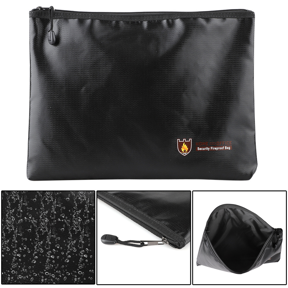 Double Sided Fireproof Money Document File Bag Pouch Cash Bank Cards Passport Valuables Organizer Holder Safe Storage