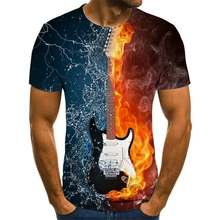 Новинка 2020 Мужская футболка для музыки с 3d гитарой принтом