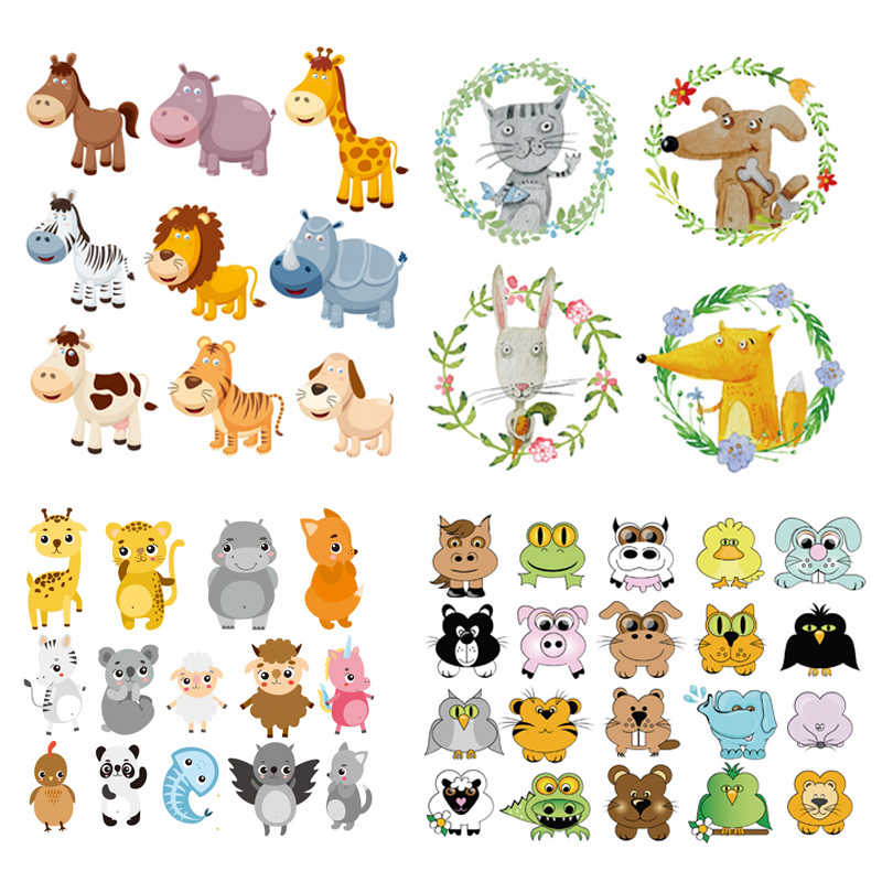 Cartoon Dier Patches Patches Een Niveau Wasbare Thermo Stickers Op Kleding Warmte Pers Applique Set Kinderkleding