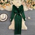 Женское винтажное трикотажное платье ALPHALMODA, пуловер с V-образным вырезом и поясом, Однотонный свитер до колена на весну осень