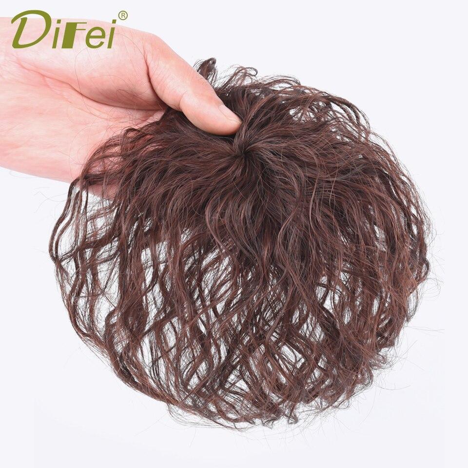 Женская Синтетическая короткая кудрявая челка DIFEI с зажимом для наращивания волос сменная застежка черная коричневая крышка белые волосы