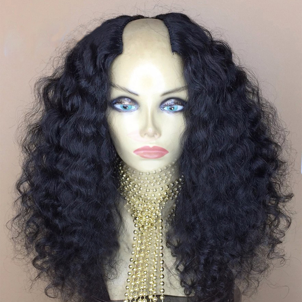 250% Density Curly U Part Wig 100% Mongolian Human Hair Wig Middle Opening 2*4 Inches Size U Shaped Wig Remy Hair For winter