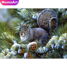 MomoArt Diamond Painting Squirrel Full Drill Diamond Embroidery Square Rhinestone Diamond Mosaic Animal Cross Stitch Flower momoart diamond embroidery landscape full drill diamond painting square rhinestone diamond mosaic animal cross stitch