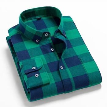 Men Plaid 100% Cotton Shirt 2021 New Spring Autumn Men Casual  Shirts Long Sleeve Chemise Homme Male Check Shirts 1