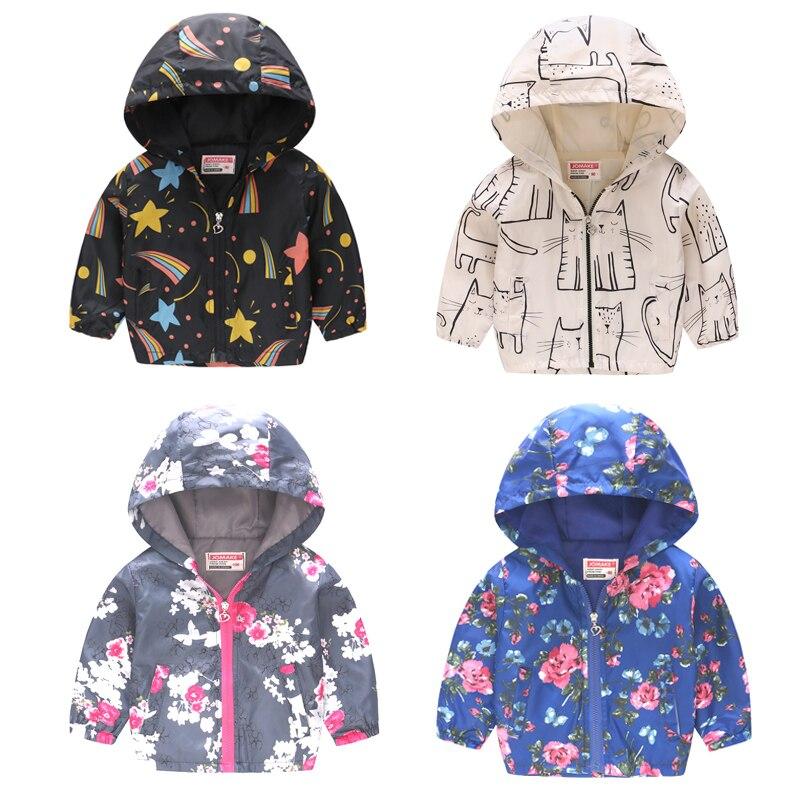 Baby Girls Jacket 2018 Autumn Graffiti Jackets For Girls Windbreaker Boys Kid Outerwear Coat For Girls Raincoat Children Clothes