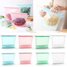 Reusable Portable Ziplock Packages Silicone Bag Food Fresh Keeping Soft Bag Sealed Bag Refrigerator Meat Fruit Food Frozen Bag,S