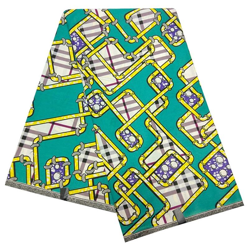 2019 New Fashion African Ankara Fabric High Quality Wax Dutch African Wax Pipeline Grid Prints Fabric