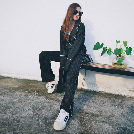 Blazer Women Casual Office Business Suits Formal Female Sets 2020 New Striped Ladies Coats Long Pants Casual Top LX1410