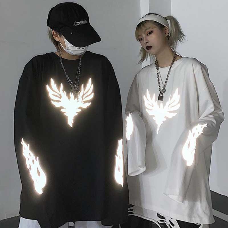 NiceMix  Harajuku Style 3M Reflective Print Tee Shirt Tops Autumn Streetwear Loose Long Sleeve O-neck T-shirt Women Men Clothing