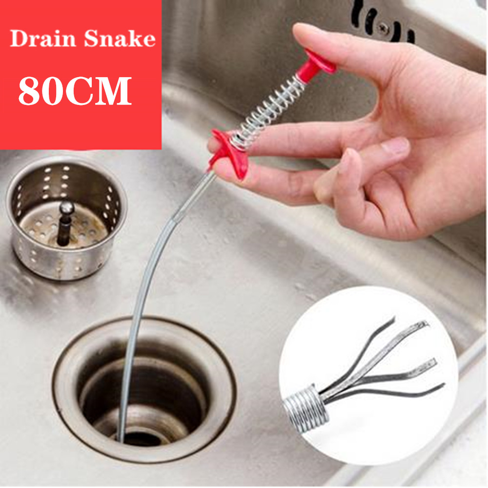 80CM Drain Cleaner Sticks Clog Remover Cleaning Tools Dredging Tools Household For Kitchen Sink