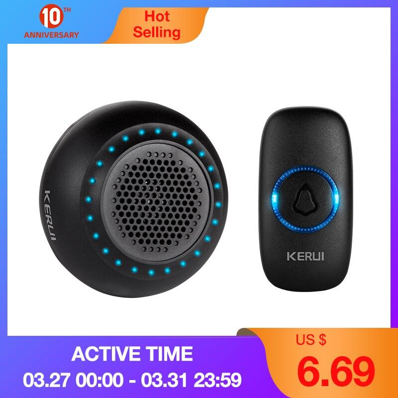 Güvenlik ve Koruma'ten Kapı Zili'de KERUI M523 kablosuz kapı zili ev su geçirmez kapı düğmesi renkli LED ışıkları ev kablosuz kapı zili 433MHz basın düğmesi title=