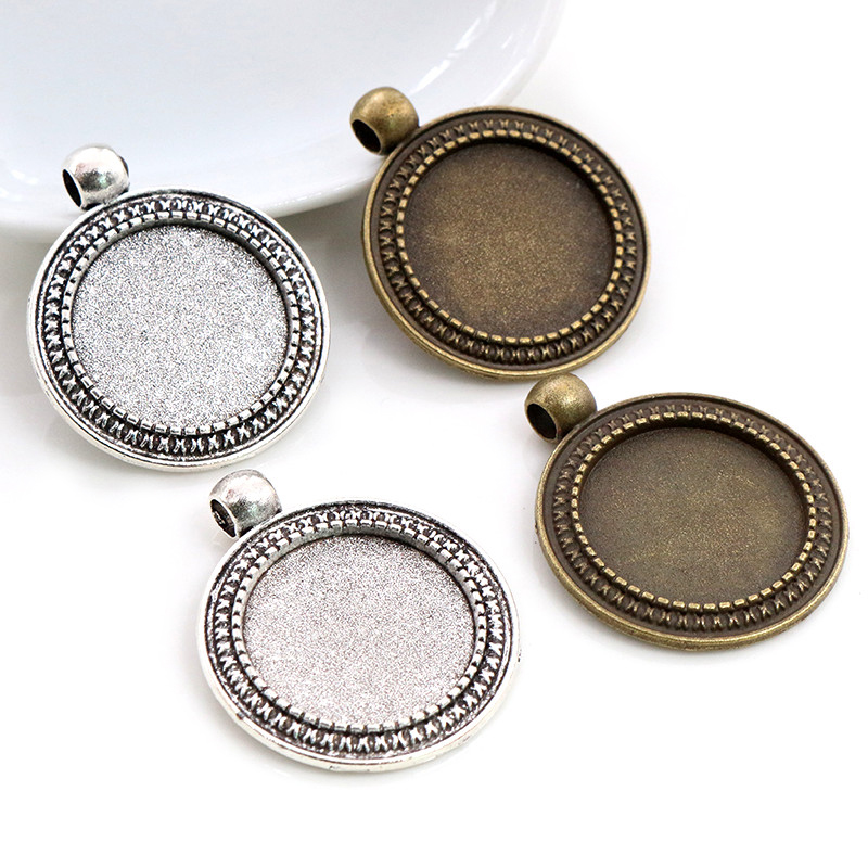 5pcs 20mm Inner Size Antique Silver Plated Bronze Classic Style Cabochon Base Setting Charms Pendant