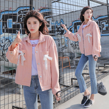 2019 Brand clothing new women jacket denim coats Korean fashion lace bow harajuku sweet girls outerwear tops solid color