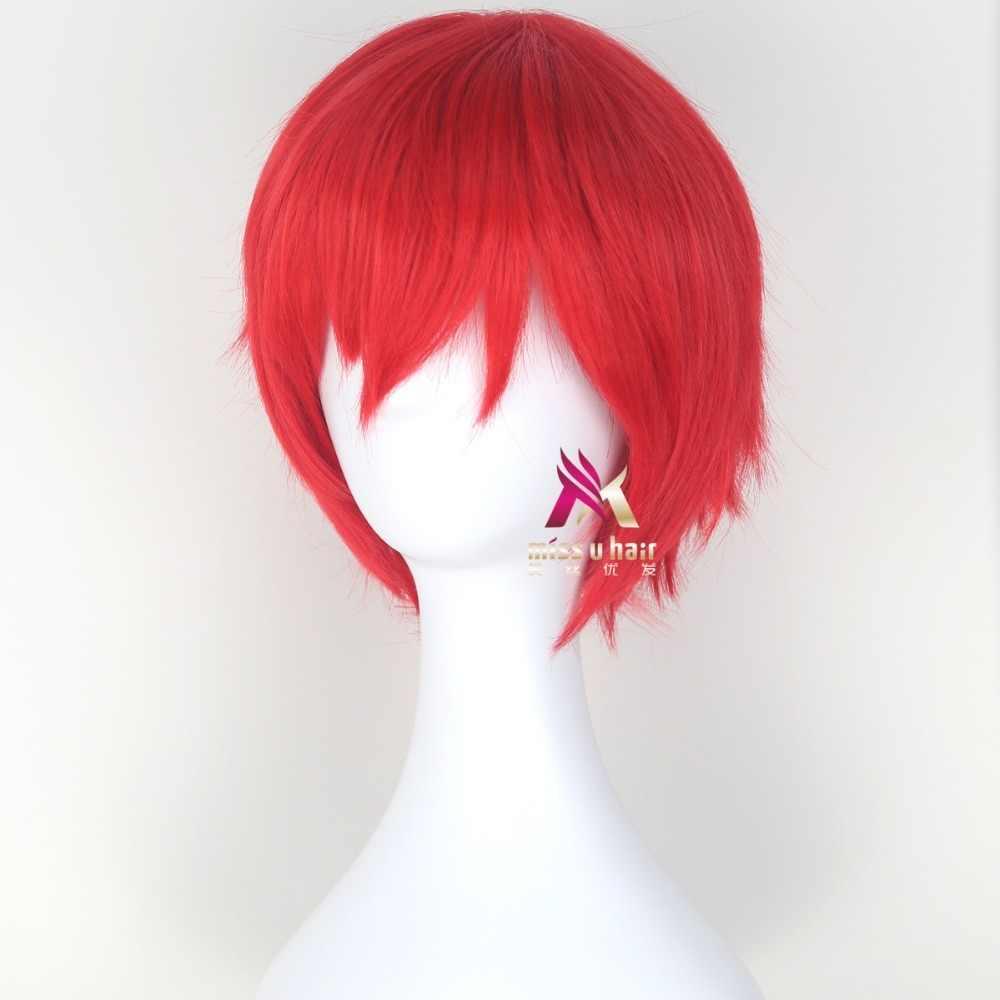 انمي ياباني اغتيال الفصول الدراسية كارما Akabane Akashi Seijuro/ساسوري قصيرة لهب أحمر شعر مستعار تأثيري زي + قبعة شعر مستعار