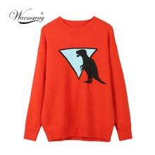 Automne hiver femmes chandail épais chaud Animal motif o cou à manches longues Orange mode tricoté pulls haut décontracté C 306