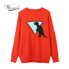 Fall Winter Women Sweater Thick Warm Animal Pattern O Neck Long Sleeve Orange Fashion Knitted Pullovers Casual Top C 306