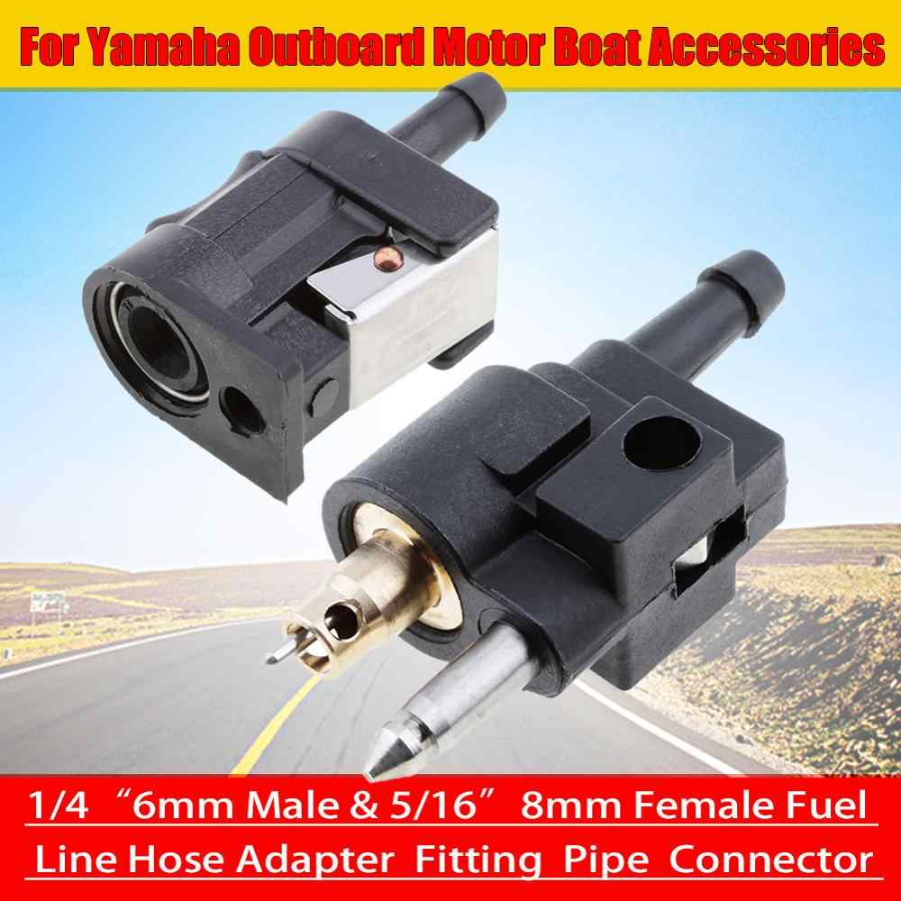 1/4 ″ 6mm Male & 5/16 ″ 8mm Female Fuel Line Hose Adapter Fitting Pipe Connector for Yamaha Outboard Motor Boat Accessories