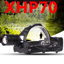 Z90S2806 LED headlamp Powerful CREE XLamp XHP70 zoom lens headlight 18650 rechargeable battery head flashlight lamp torch(China)