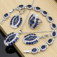 цены Graceful Luxury Silver Color Bridal Jewelry Sets Blue CZ Stone White Crystal Bracelet Necklace Set for Women Dropshipping