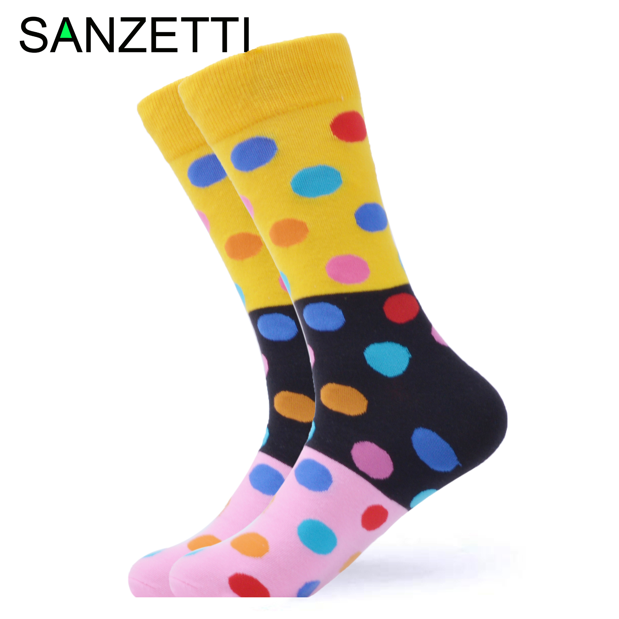 SANZETTI 1 Pair New Happy Socks High Quality Men's Colorful Wave Point Comfortable Combed Cotton Fun  Gift Wedding Dress Socks