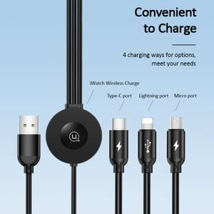 Image 2 - USAMS Qi Draadloze Oplader voor Apple Horloge Serie 5 4 3 2 1 4 in 1 USB Opladen Data Kabel voor iPhone USB Type C Micro Usb kabel