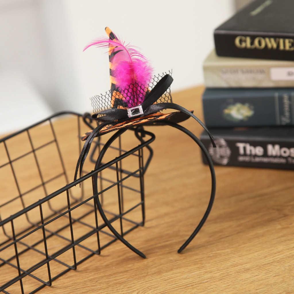 Halloween citrouille sorcellerie chapeaux sorcière bandeau fantaisie robe casquette fête Cosplay dentelle voile Topper fête cheveux ornements enfants 830