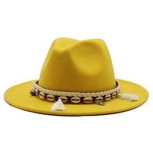 Wholesale Unisex Wool Felt Fedora Hats for Women Vintage Wide Brim Mens