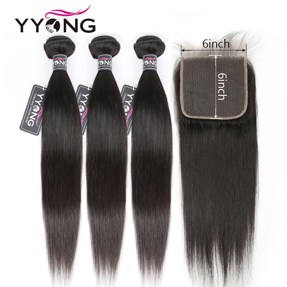 Mèches Remy péruviennes lisses avec Lace Closure-Yyong Hair   6x6, 8-30 pouces, Lot de 4 pièces