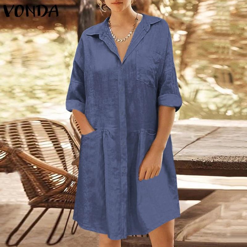 VONDA Women Casual Pregnancy Sundress Loose Long Sleeve Holiday Short Dress Solid Color Button Shirt Dress Vestidos Party Robe