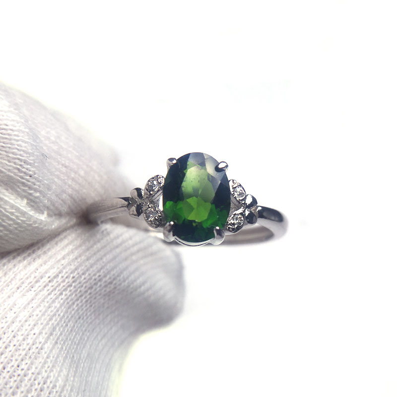 CSJ 100% Natural Chrome Diopside Ring Sterling 925 Silver For Women Lady Fine Jewelry Wedding Engagement For Women With Box