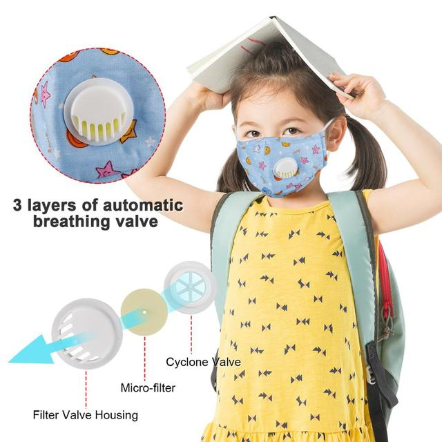 Kids Cotton Mouth Face Mask With 10pcs PM2.5 Breathing Valve Anti dust Anti Flu Mask Respirator Adjustable Children Mask 4