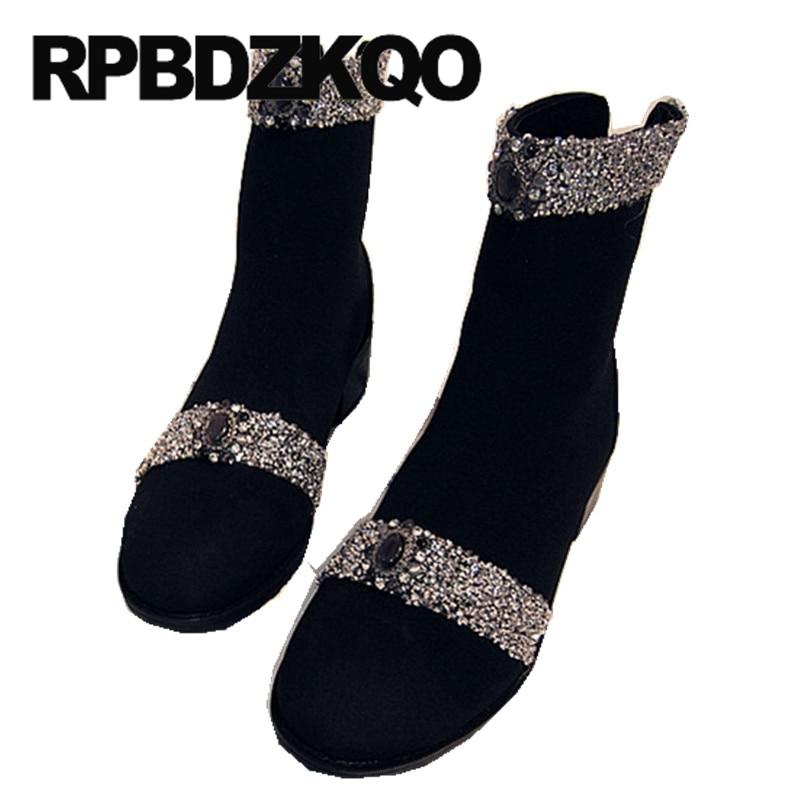 sequin suede women ankle boots medium