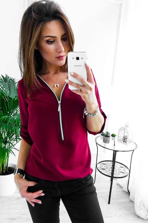 Женские рубашки на молнии с короткими рукавами, сексуальные однотонные Женские топы и блузки с v-образным вырезом, повседневные футболки, топы Женская одежда, большие размеры-8