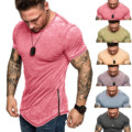 Solid Color Men's Summer T-shirt Slim Casual Stitching Zipper Fit Patchwork Short Sleeve Round Neck Plus Size Loose Top Blouse
