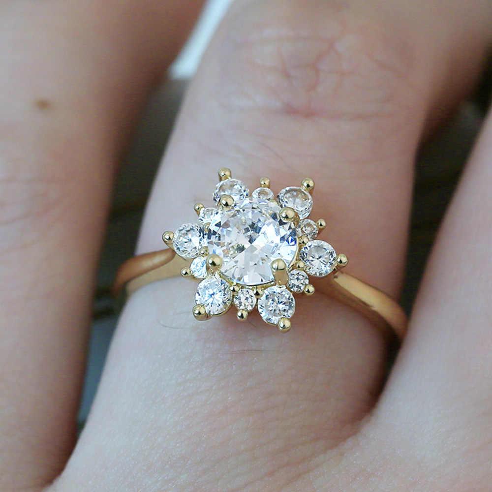 ใหม่ทองแดงฝัง Zircon แหวนออกแบบแหวนแฟชั่นผู้หญิงยุโรปและอเมริกาแฟชั่นเครื่องประดับ