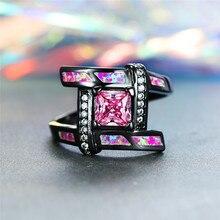 цена Cute Female Small Pink Square Stone Ring Vintage Black Gold Wedding Rings For Women Boho Fire Opal Engagement Ring онлайн в 2017 году