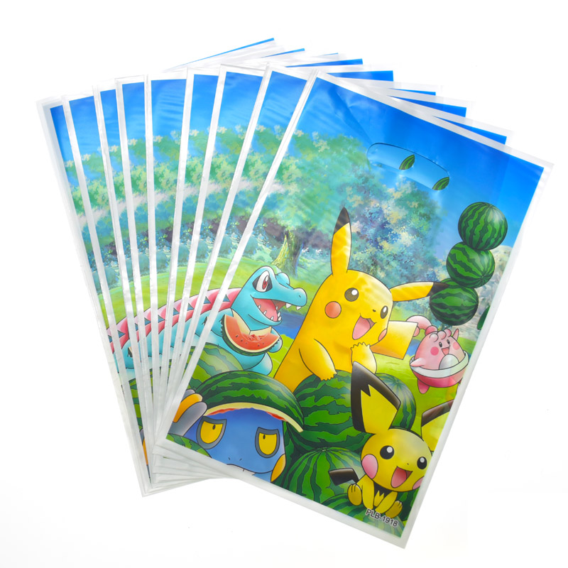 Happy Baby Shower Party Kids Boys Favors Pokemon Go Theme Plastic Loot Bags Birthday Decorate Pikachu Design Gifts Bags 20pcs