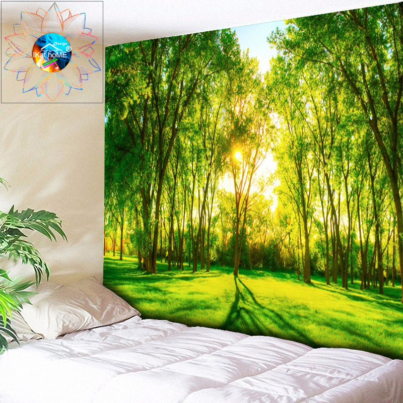 Wholesale 3D Beach Towel Forest Landscape Beautiful Forest Stream Printing Wall Carpet Yoga Mat Home Decor Tapestry Sunlight New