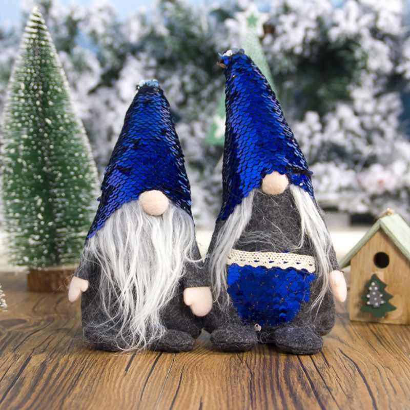 Svedese Di Natale Santa Nordic Elf Peluche Gnome Bambola Figurine Ornamento Paillettes Cappello Tasca Casa DecorationsGM