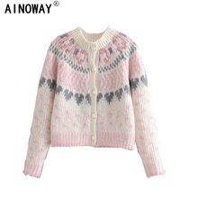 Vintage chic women deep V neck loose floral printed boho sweaters ladies long sleeve  knitted bohemian cardigan sweater