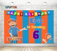GFUITRR Youtube Blippiแบนเนอร์การถ่ายภาพฉากหลังเด็กอาบน้ำเด็ก1st Birthday Partyพื้นหลังสีส้มสีฟ้าPhoto Booth Props